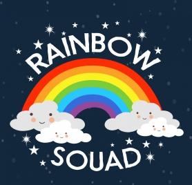 rainbow background stylized cloud decoration