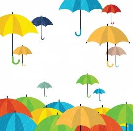 rainy background colorful umbrella icons decoration