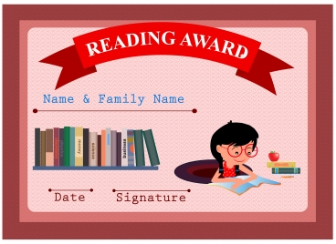 reading awards vector design with education illustration