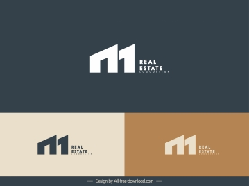 real estate logo template houses shape text sketch