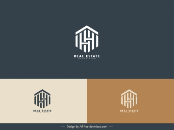 real estate logo template symmetric text house layout