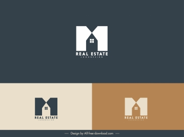 real estate logotype house text layout flat sketch