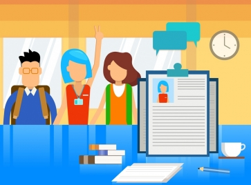 recruitment background candidates cv icons cartoon sketch