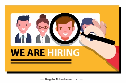 recruitment background personnel avatar magnifier sketch cartoon characters