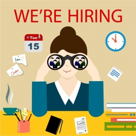 recruitment banner design with businesswoman with binoculars