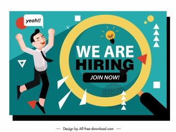 recruitment banner happy successful personnel sketch geometric decor