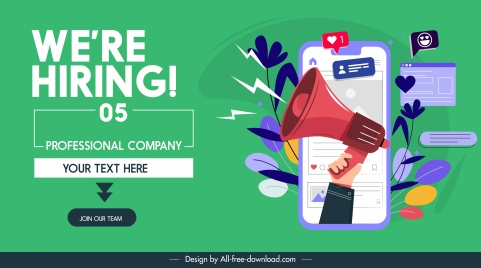 recruitment banner media icons webpage design