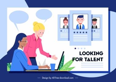 recruitment banner office scene sketch cartoon design