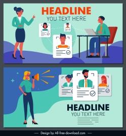 recruitment banners office staffs sketch cartoon design