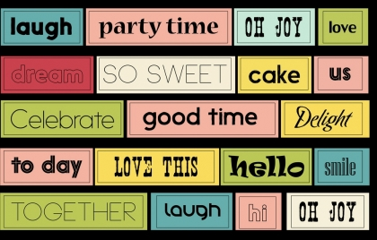 rectangular stickers collection various texts decoration