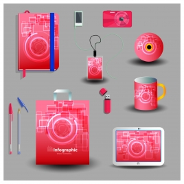 red abstract corporate identity template set