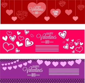 red and violet valentine banners collection hearts decoration