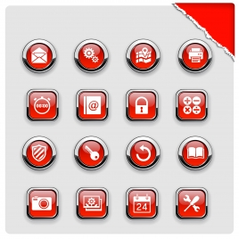 red computer icons collection