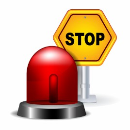 Red Flashing Emergency Light and Stop