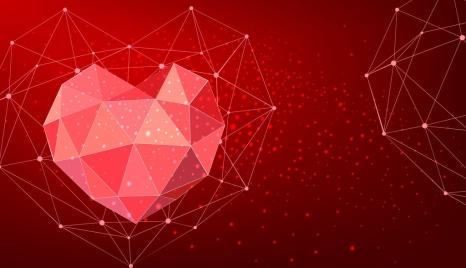 red gem background sparkling low polygon draft