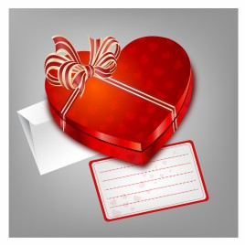 Red heart shape box with envelope