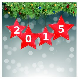 red star 2015 Happy New Year Background