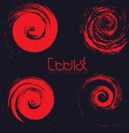 red twist icons collection dark design