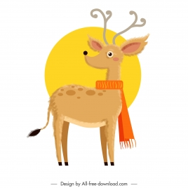 reindeer icon stylized design cartoon character colored classic