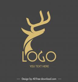 reindeer logo template classical flat silhouette sketch