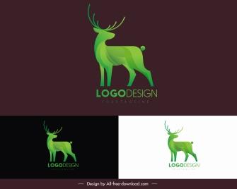 reindeer logo template green modern 3d sketch