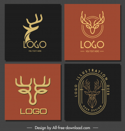 reindeer logo templates classical handdrawn polygonal shapes