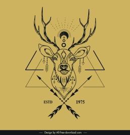 reindeer logotype classical tribal decor symmetric design