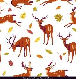 reindeer pattern cute cartoon design leaves decor