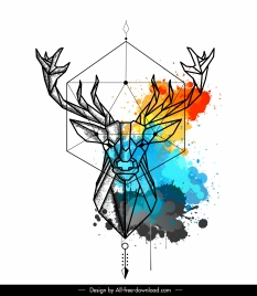 reindeer tattoo template symmetric lowpoly colorful grunge decor