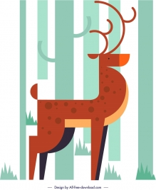 reindeer wild animal painting colored classical flat design