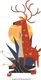 reindeer wild animal painting colorful flat design