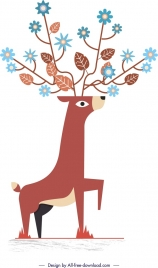 reindeer wildlife painting classical flat design flowers ornament