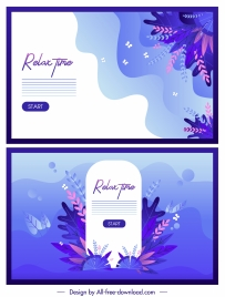 relax time banners flowers decor colored classic design