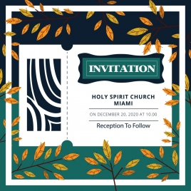 religion invitation template natural leaves decoration