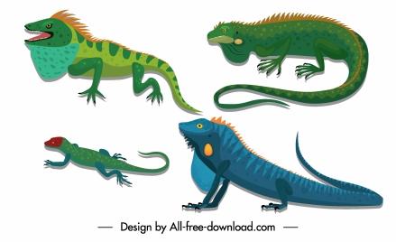 reptile creatures icons salamanders gecko sketch colorful design