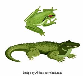 reptiles species icons green frog crocodile animals sketch