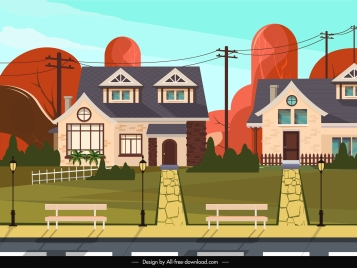 residence scene painting colored cartoon design
