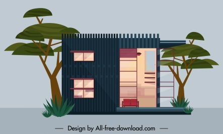 residential house exterior template flat design contemporary decor