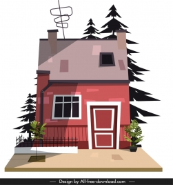 residential house icon colored cartoon sketch