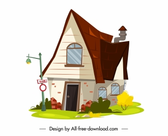 residential house icon colorful classic decor cartoon design