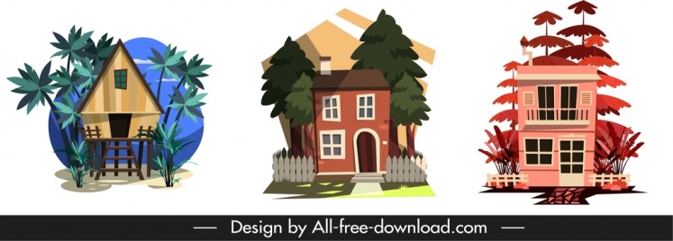 residential house icons colored classical sketch