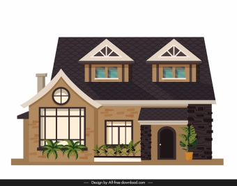 residential house template modern exterior sketch