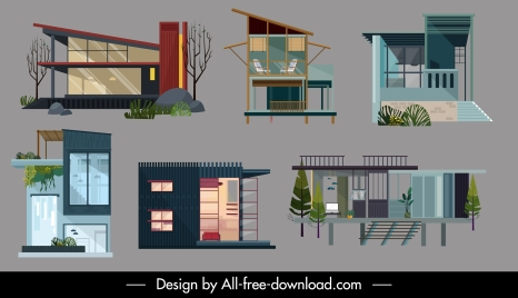 residential houses icons collection colored contemporary sketch