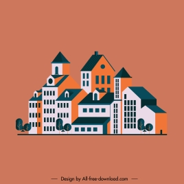 residential housing icon colored classical sketch