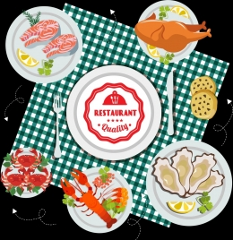 restaurant background dishware seafood icons decor