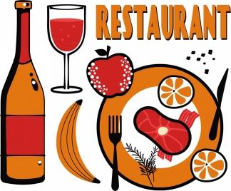restaurant banner food beverage icons colored flat decor