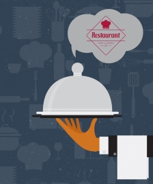 restaurant banner grunge retro decor hand utensils icons