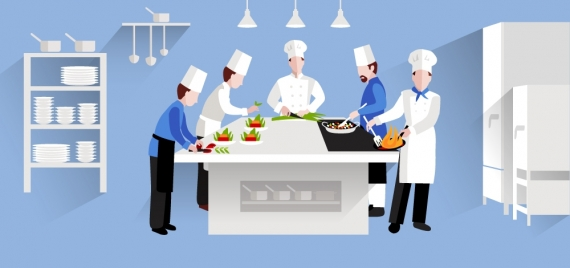 restaurant cooking activities vector design in major white