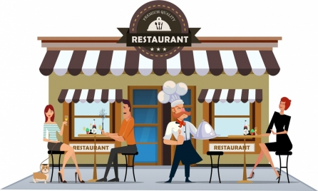 restaurant exterior drawing cook diners icons colored cartoon