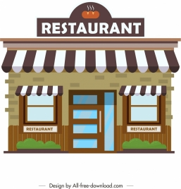 restaurant facade architecture template colored modern design